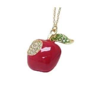 Goldtone Apple Crystal Charm Pendant Necklace Jewelry