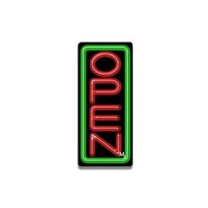 Vertical Neon Open Sign   Green Border & Red Letters