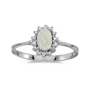 14k White Gold Oval Opal And Diamond Ring (Size 4.5) Jewelry
