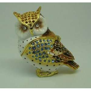 Owl Crystal Studded Jewelry Trinket Box  Home & Kitchen