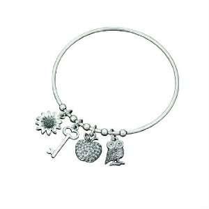 Fiorelli Owl Key Apple and Flower Charm Bangle Fiorelli Jewelry