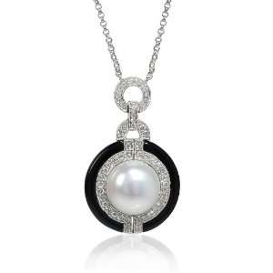 Pearl Antique 18k White Gold and Black Onyx Pendant Necklace Jewelry