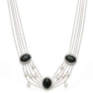 Necklace with Oval Onyx and White Freshwater Pearl Accents Jewelry