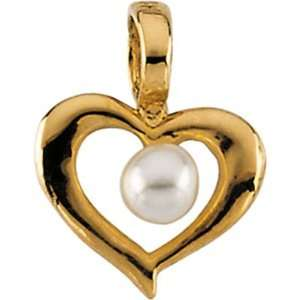 14k Yellow Gold Heart Pendant with Pearl in the middle Jewelry
