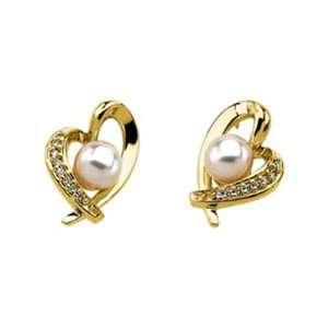 14k Yellow Gold Heart Pearl Earrings with Diamonds Jewelry