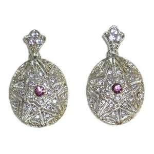 Silverplated & Purple Crystal Pierced Earrings Jewelry