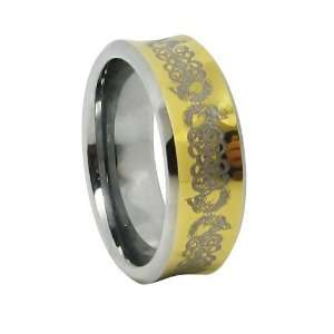 Polish Concave Gold Plated Celtic Comfort Fit Tungsten Carbide Women