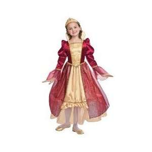 Red and Gold Velvet Princess Costume Medium 6 8 Toys & Games