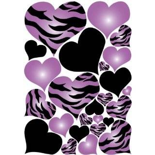 Purple Radial, Zebra Print, and Black Hearts Wall Sticker Decals on a