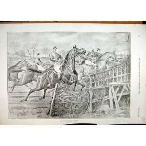 1896 Horse Racing Jockey Crashing Fence Antique Print