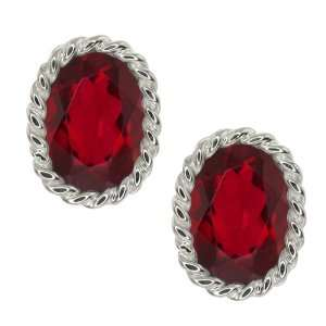 20 Ct Oval Ruby Red Mystic Topaz Sterling Silver Earrings Jewelry