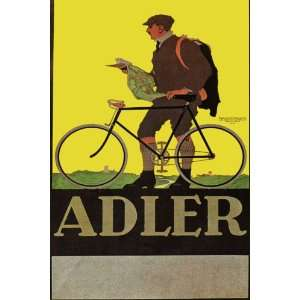 MAN RIDING ADLER BICYCLE BIKE CYCLES LARGE VINTAGE POSTER