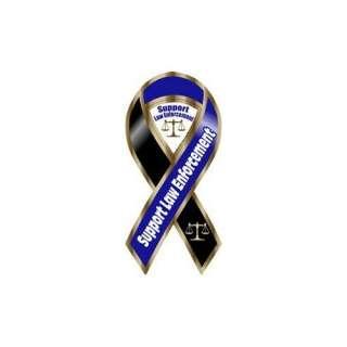 Support Law Enforcement Blue / Black Ribbon Magnet Automotive