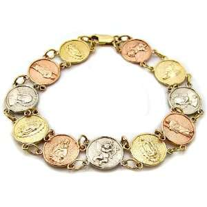 Yellow, White Rose Tri Color Gold Reglious Bracelet 7 Inch Jewelry