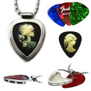 PickBay Stainless Steel Guitar Pick Holder Necklace & 6 Bright Jewel