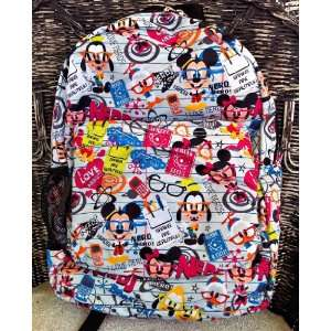 Disney Mickey Mouse Nerds Pattern Backpack NEW Everything