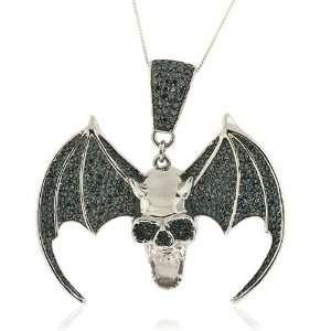 Silver Micro Pave Hip Hop Skull Bat CZ Pendant TrendToGo Jewelry