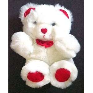 VALENTINE Plush White Teddy Bear Heart Nose Toys & Games