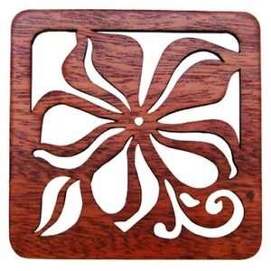 Hawaiian Laser Cut Wood Trivets Plumeria Set of 2 Kitchen