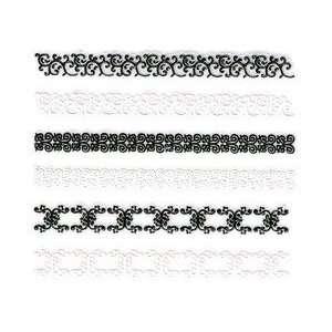 Glitter Black & White Victorian Floral Trim Strip Nail Stickers/Decals