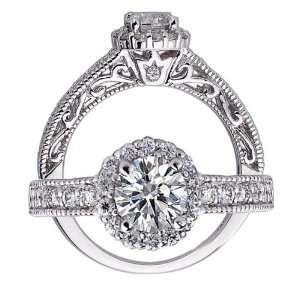 14k White Gold Round Brilliant Cut Diamond Engagement Ring
