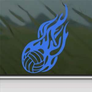 Flaming Volleyball Blue Decal Car Truck Window Blue