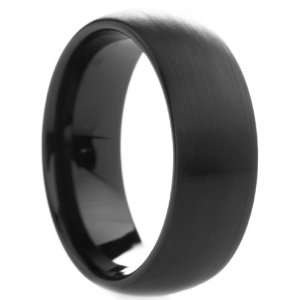 8 mm Mens Black Tungsten Carbide Rings Wedding Bands Round
