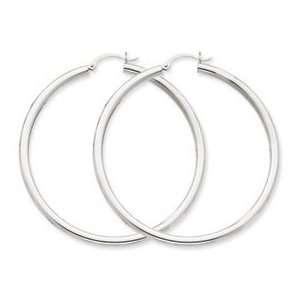 14k White Gold 3mm Hoop Earrings Jewelry