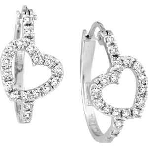 Diamond Heart Hoop Earrings White Gold Jewelry