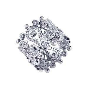 Sterling Silver CZ Wide Band Ring Size 5 Jewelry