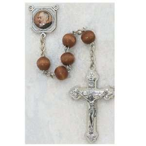 7MM BEADS ROUND BROWN WOOD ST. PIO PHOTO CENTER ROSARY