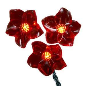 Kurt Adler Indoor/Outdoor 10 Light Red Flower LED Light