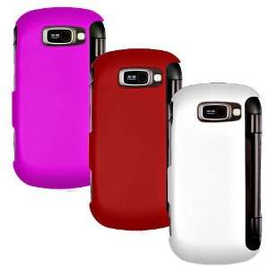 LG OCTANE VN530 THREE RUBBERIZED CASE COMBO, HOT PINK, RED