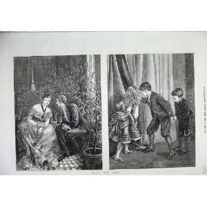 1873 Hide Seek Children Games Man Woman Romance Art Home