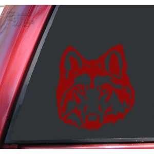 Wolf Head #1 Vinyl Decal Sticker   Dark Red