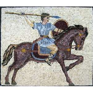 24x28 Man Hunting Mosaic Art Tile Mural Wall Decor