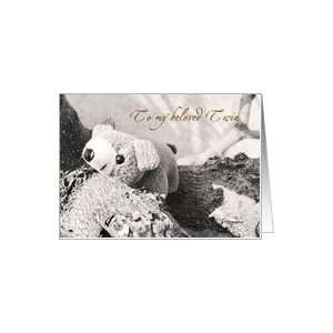 Beloved Twin   teddy bear card Card Health & Personal