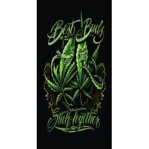 Best Buds Stick Together   Marijuana Leaf Weed Pot Cannibis Beach