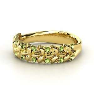 Laurel Ring, 14K Yellow Gold Ring with Green Tourmaline