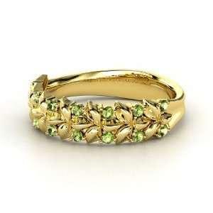 Laurel Ring, 14K Yellow Gold Ring with Green Tourmaline
