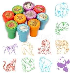 Wild Animal Self Inking Rubber Stamp Set [Family, Party Favors, Kids