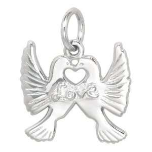Sterling Silver Love Doves Charm Jewelry