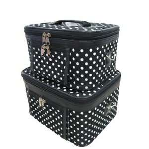 Train Case Cosmetic Toiletry 2 Piece Luggage Set Black White Polka
