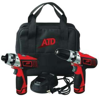ATD Tools 10525 12Volt Compact Lithium Ion Drill and Cordless Hex