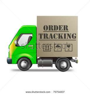 Order Tracking Package From Internet Shop Cardboard Box Delivery Truck
