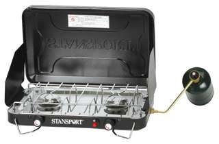 Stansport 2 Burner Piezo Propane Camp Stove w/ Drip Pan
