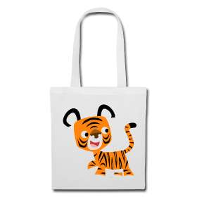 HEY!! Cute Cartoon Tiger Tote Bag  Cheerful Madness!! Cartoon Animals