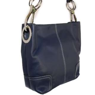 Italian Navy Blue Leather Large TOSCA Shoulder Handbag Features