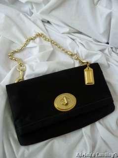 COACH Amanda Black Satin Foldover Evening Bag Purse #12926 ~ XLNT