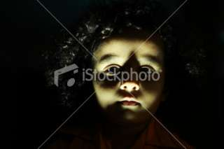 Dark Haunting Portrait Young Girl down Light Royalty Free Stock Photo